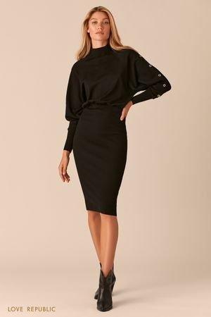 Трикотажное черное платье миди с юбкой в рубчик LOVE REPUBLIC