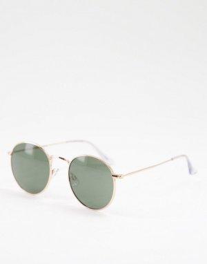 Круглые солнцезащитные очки в золотистой оправе -Золотистый Jack & Jones