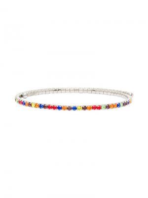 Чокер с разноцветными кристаллами Miu. Цвет: серебристый