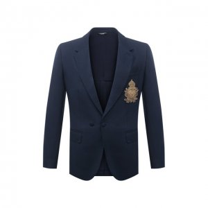 Пиджак из шерсти и шелка Dolce & Gabbana. Цвет: синий
