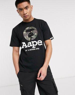 Черная футболка с логотипом AAPE By A Bathing Ape-Черный APE®