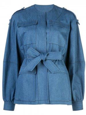 Джинсовая куртка с ремнем Derek Lam. Цвет: синий
