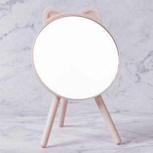 Зеркало для макияжа с ухом SHEIN. Цвет: розовые