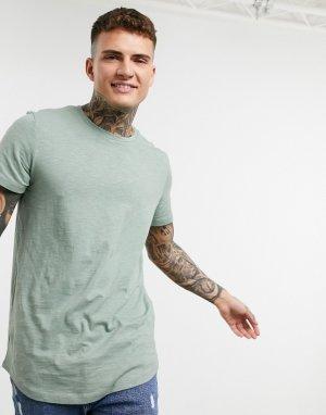 Зеленая футболка с закругленным низом Originals-Зеленый Jack & Jones