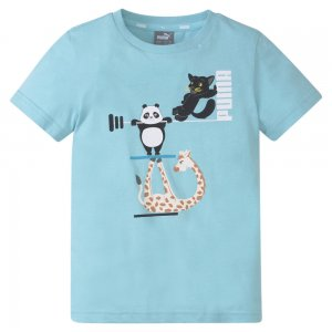 Детская футболка Paw Kids Tee PUMA. Цвет: синий