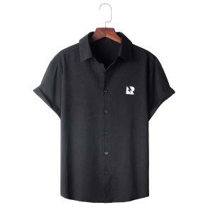Мужской Рубашка на пуговицах с коротким рукавом SHEIN. Цвет: чёрный