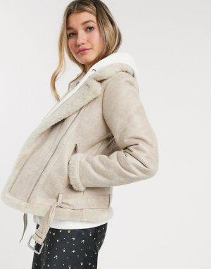 Байкерская куртка с искусственным мехом -Кремовый Abercrombie & Fitch