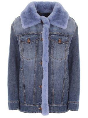 Куртка джинсовая с мехом кролик Jacob Cohen. Цвет: разноцветный