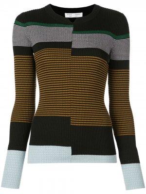 Пуловер тонкой вязки в рубчик Proenza Schouler White Label. Цвет: black/fatigue multi