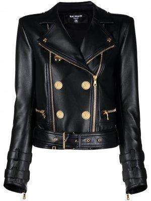 Байкерская куртка Balmain. Цвет: черный
