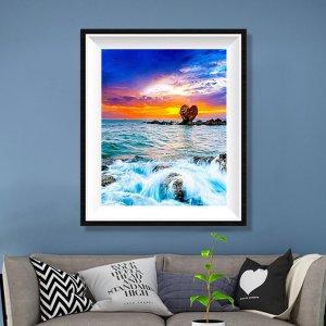 DIY Алмазная картина без рамы с принтом моря SHEIN. Цвет: многоцветный