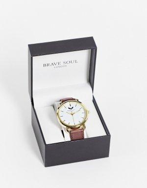 Мужские часы со светло-коричневым ремешком -Коричневый цвет Brave Soul