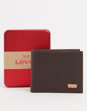Коричневый бумажник с логотипом Levis Levi's