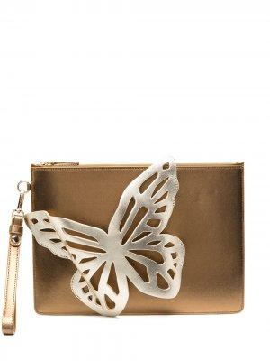 Flossy 3D Butterfly clutch Sophia Webster. Цвет: золотистый