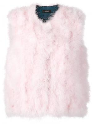 Пушистый жилет Yves Salomon Accessories. Цвет: розовый
