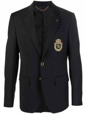Однобортный пиджак с вышитым логотипом Billionaire. Цвет: черный