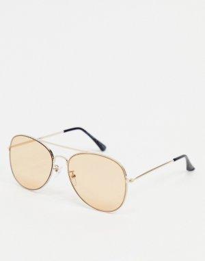 Солнцезащитные очки‑авиаторы в золотистой оправе -Золотистый AJ Morgan