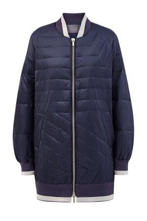 Удлиненная куртка-бомбер с трикотажной отделкой и люрексом LORENA ANTONIAZZI. Цвет: синий