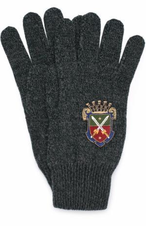 Шерстяные перчатки с вышивкой Dolce & Gabbana. Цвет: темно-зеленый