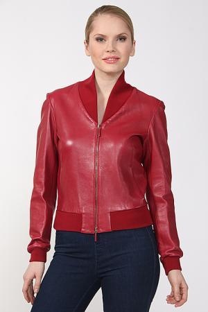 Куртка кожаная Yves Saint Laurent. Цвет: красный