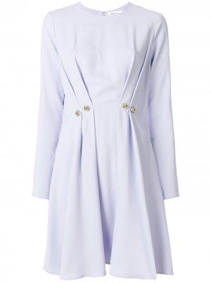 Платье с плиссировкой и декоратвиными пуговицами Carven. Цвет: розовый