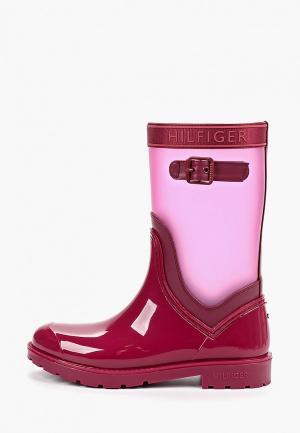 Резиновые сапоги Tommy Hilfiger. Цвет: бордовый