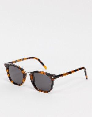 Солнцезащитные очки в стиле унисекс квадратной коричневой оправе под черепаху Ando-Коричневый Monokel Eyewear