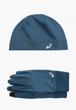 Шапка и перчатки ASICS RUNNING PACK. Цвет: синий