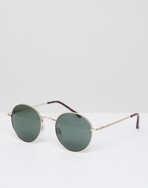 Круглые солнцезащитные очки в золотистой оправе с зелеными стеклами -Золотой AJ Morgan
