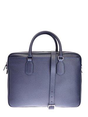 Кожаная сумка для ноутбука с регулируемым ремнем CANALI. Цвет: синий