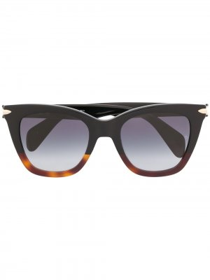 Солнцезащитные очки в оправе трапециевидной формы RAG & BONE EYEWEAR. Цвет: коричневый