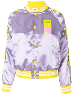 Атласная куртка-бомбер Gcds. Цвет: розовый