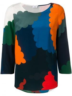 Приталенная блузка в стиле колор-блок Akris Punto. Цвет: синий