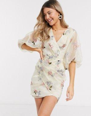 Кремовое платье мини из органзы с цветочной вышивкой -Мульти ASOS DESIGN