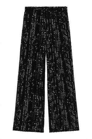 Черные расклешенные брюки с пайетками Maje. Цвет: черный