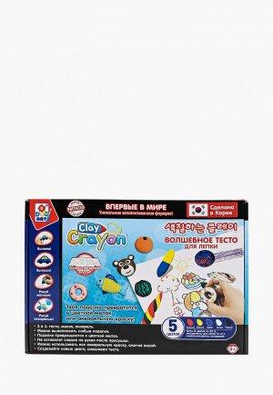 Набор для творчества 1Toy Clay Crayon тесто-мелков (5 цветов по 30 гр). Цвет: разноцветный