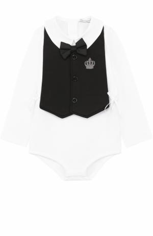 Комплект из хлопкового боди с нагрудником и декором Dolce & Gabbana. Цвет: белый