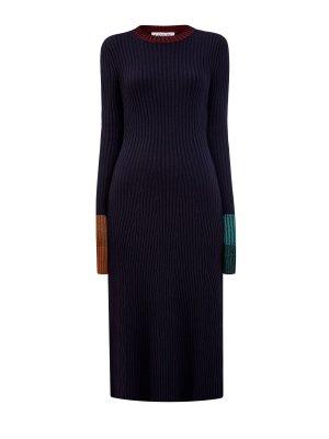 Шерстяное платье в рубчик с мерцающей окантовкой LANVIN. Цвет: черный