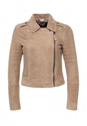 Куртка кожаная Tommy Hilfiger Denim. Цвет: бежевый