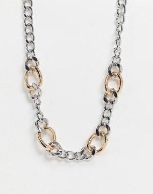 Ожерелье в виде цепочки с крупными звеньями разного размера и цвета -Многоцветный ASOS DESIGN