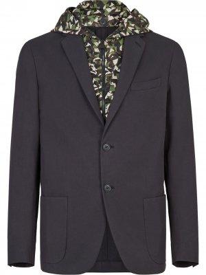 Однобортный пиджак Bag Bugs с камуфляжным принтом Fendi. Цвет: черный