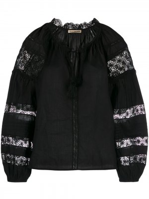 Блузка с кружевом Ulla Johnson. Цвет: черный