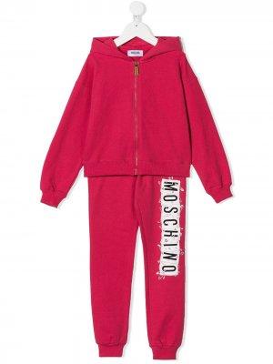 Спортивный костюм с логотипом Moschino Kids. Цвет: красный