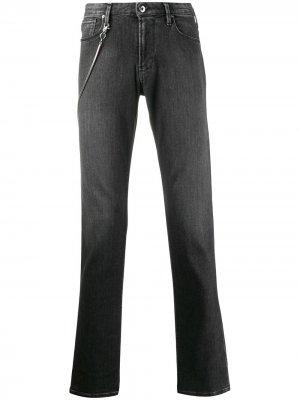 Прямые джинсы с декоративной цепочкой Emporio Armani. Цвет: черный