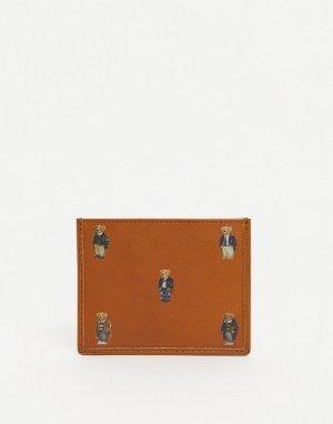 Светло-коричневая кожаная кредитница со сплошным принтом в виде медвежонка -Коричневый цвет Polo Ralph Lauren