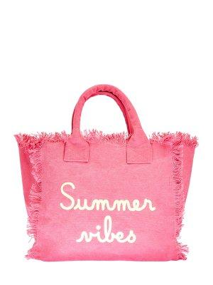 Хлопковая пляжная сумка с вышивкой-леттерингом MC2 SAINT BARTH. Цвет: розовый