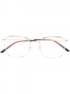 Очки в квадратной оправе Gucci Eyewear. Цвет: золотистый