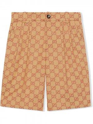 Двухцветные шорты с логотипом GG Gucci Kids. Цвет: нейтральные цвета