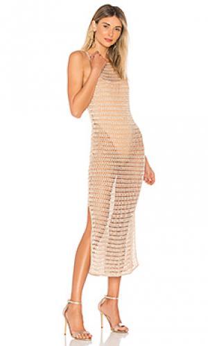 Миди платье с вышивкой крошё ashanti NBD. Цвет: цвет загара