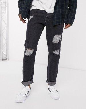 Темно-серые суженные книзу рваные джинсы Intelligence-Серый Jack & Jones